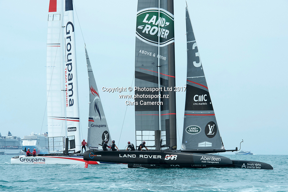 The Great Sound, Bermuda. 1st June 2017. Groupama Team France and Land Rover BAR slog it out in light winds in their Round Robin two match of the America's Cup Qualifiers.<br /> Copyright photo: Chris Cameron / www.photosport.nz<br /> For editorial news use only NO AGENTS