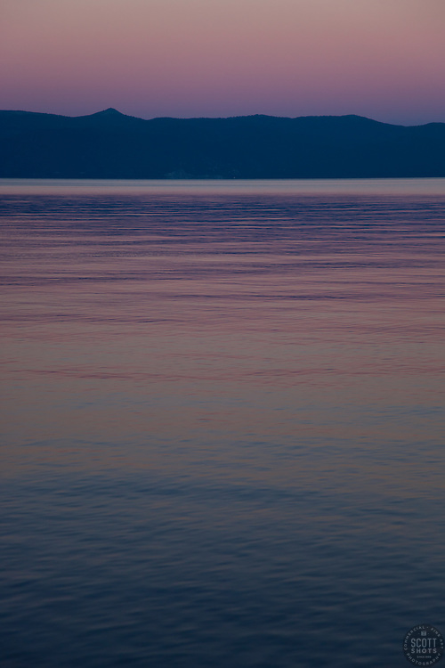 """""""Sunset at Lake Tahoe 6"""" - This peaceful sunset was photographed from the West shore of Lake Tahoe, California."""