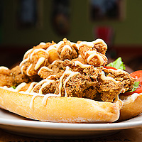 Fried Shrimp & Oysters Po-Boy On french bread, dressed. Jimmy J's Cafe, 115 Chartres St. New Orleans, LA 70130
