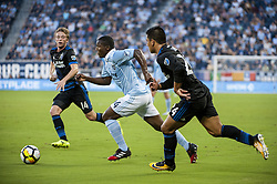August 9, 2017 - Kansas City, Kansas, United States - Kansas City, KS - Wednesday August 9, 2017: Jackson Yueill, Jimmy Medranda, Nick Lima during a Lamar Hunt U.S. Open Cup Semifinal match between Sporting Kansas City and the San Jose Earthquakes at Children's Mercy Park. (Credit Image: © Amy Kontras/ISIPhotos via ZUMA Wire)