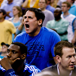 November 17, 2010; New Orleans, LA, USA; Dallas Mavericks owner Mark Cuban reacts from behind the bench during the second half against the New Orleans Hornets at the New Orleans Arena. The Hornets defeated the Mavericks 99-97. Mandatory Credit: Derick E. Hingle