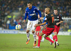 CARDIFF, WALES - Tuesday, February 1, 2011: Cardiff City's Jay Bothroyd is fouled by Reading's Jimmy Kebe during the Football League Championship match at the Cardiff City Stadium. (Photo by Gareth Davies/Propaganda)