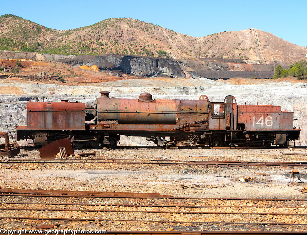 Old rusty abandoned steam train in the Rio Tinto mining area, Minas de Riotinto, Huelva province, Spain