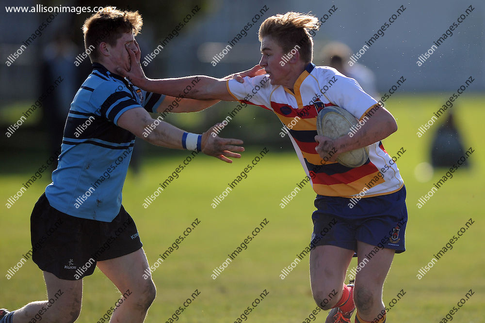 Reece Stackhouse of John McGlashan looks to break the defence, during the ODT Cup match between Kings High School and John McGlashan College, held at Kings High School, Dunedin, New Zealand,  20 June 2015. Credit: Joe Allison / allisonimages.co.nz