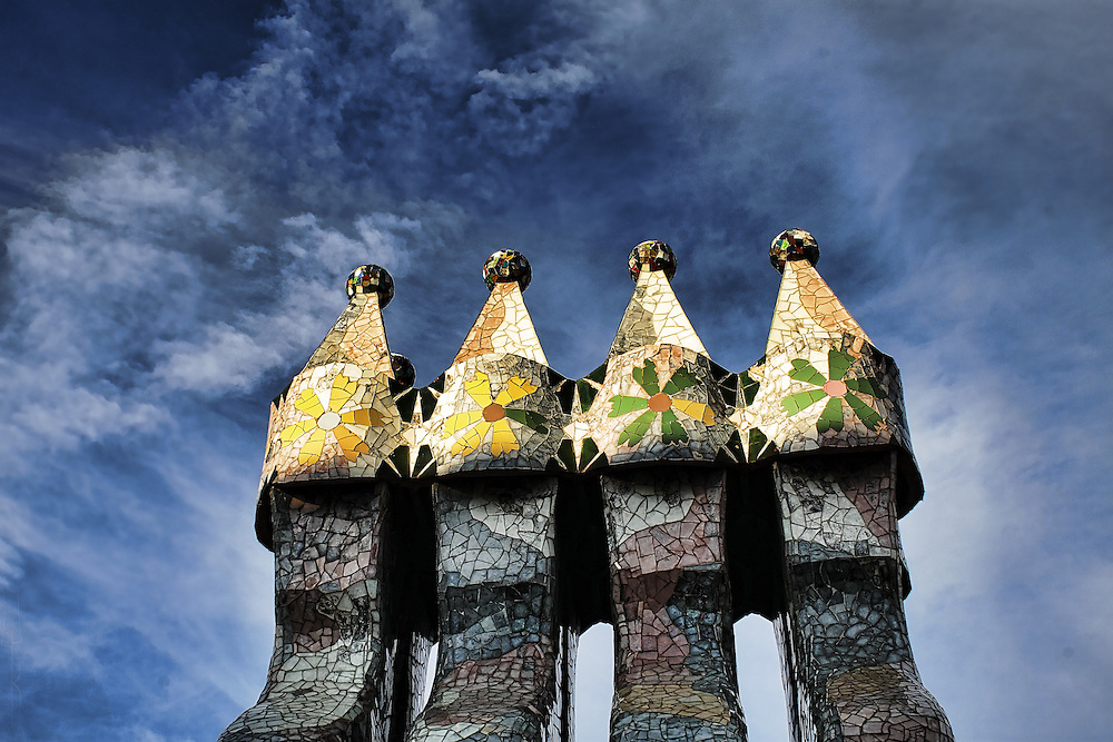 On the roof of Casa Batllo, Barcelona.