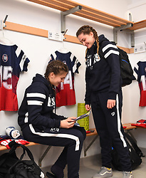 Merryn Doidge and Lilly Stoeger-Goddard of Bristol Bears Women in the changing room - Mandatory by-line: Paul Knight/JMP - 01/12/2018 - RUGBY - Shaftesbury Park - Bristol, England - Bristol Bears Women v Harlequins Ladies - Tyrrells Premier 15s