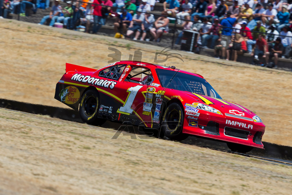 SONOMA, CA - JUN 24, 2012:  Jamie McMurray (1) brings his car through the turns during the Toyota Save Mart 350 at the Raceway at Sonoma in Sonoma, CA.