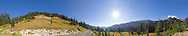 Panorama from Paradise Valley in Mount Rainier National Park, Washington State, USA.  Mazama Ridge is on the left, Tatoosh Range in the middle (distant) and Mount Rainier itself on the right.