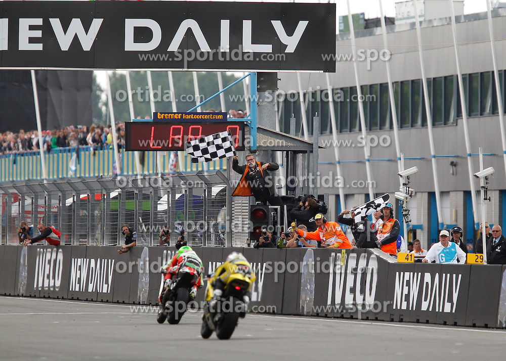 28.06.2014, TT Circuit, Assen, NED, MotoGP, Assen, im Bild Die Zieldurchfahrt der Moto2 // during the MotoGP Iveco TT Assen at the TT Circuit in Assen, Netherlands on 2014/06/28. EXPA Pictures &copy; 2014, PhotoCredit: EXPA/ Eibner-Pressefoto/ FOTO-SPO_AG<br /> <br /> *****ATTENTION - OUT of GER*****