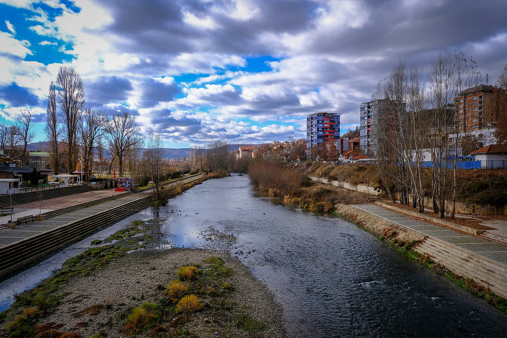 The river Ibar from the Mitrovica bridge which separates the Serbian and Albanian districts of Mitrovica, Kosovo on the 12th of December 2018, it was rebuilt with funding from the EU. Mitrovica or Kosovska Mitrovica is a city and municipality located in Kosovo. Settled on the banks of Ibar and Sitnica rivers, the city is the administrative center of the Mitrovica District.  (photo by Andrew Aitchison / In pictures via Getty Images)