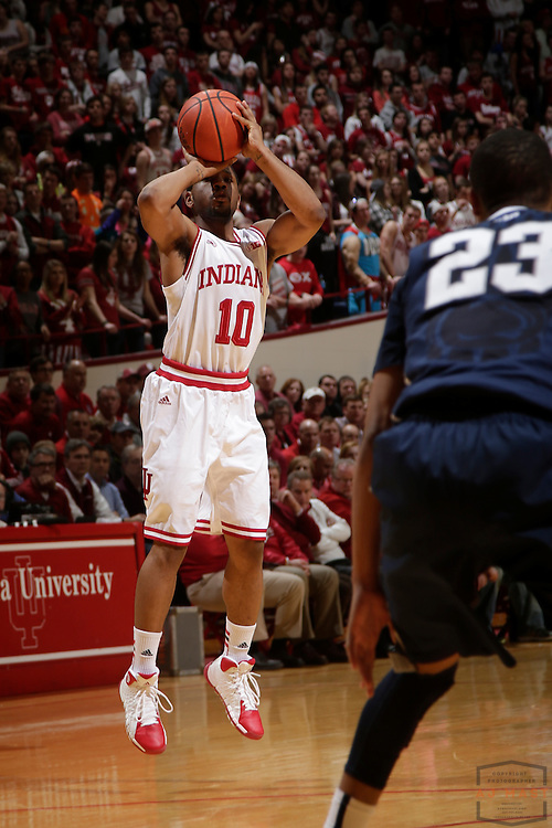 12 February 2014: Indiana Guard Evan Gordon (10) as the Indiana Hoosiers played Penn State in a college basketball game in Bloomington, Ind.