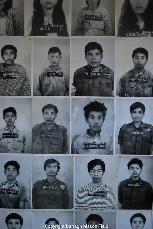 Photos of victims of Security Prison 21 (S-21) run  by the Khmer Rouge regime from its rise to power in 1975 to its fall in 1979.
