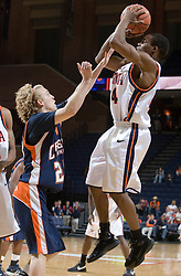 Virginia Cavaliers G Sean Singletary (44) shoots a jump shot against Carson-Newman.  The Virginia Cavaliers men's basketball team defeated the Carson-Newman Eagles 124-65 in an exhibition basketball game at the John Paul Jones Arena in Charlottesville, VA on November 4, 2007.