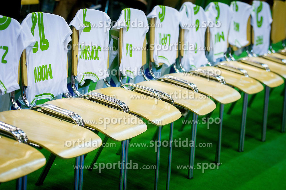 Jerseys of team Slovenia during friendly match between National teams of Slovenia and Turkey for Eurobasket 2013 on August 4, 2013 in Arena Zlatorog, Celje, Slovenia. (Photo by Vid Ponikvar / Sportida.com)