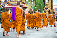Rear View of a group of Buddhist Thai Monk