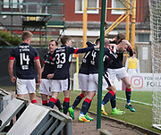 Dundee's Marcus Haber is congraulated after scoring - Motherwell v Dundee, Fir Park, Motherwell, Photo: David Young<br /> <br />  - © David Young - www.davidyoungphoto.co.uk - email: davidyoungphoto@gmail.com