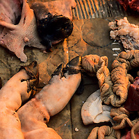 Pig entrails and body parts for sale at morning market, Muang Singh, Laos
