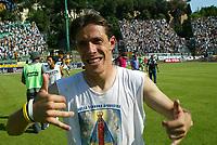 Siena 29-05-2005<br />Campionato di calcio serie A 2004-05 Siena Atalanta<br />Nella foto Taddei che esulta per la promozione otteenuta<br />Foto Snapshot / Graffiti