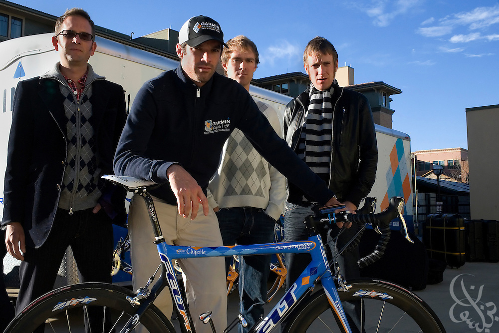 (From left) Team Garmin-Chipotle General Manager Jonathan Vaughters and cyclists David Millar , Will Frischkorn and Bradley Wiggins pose for a portrait in Boulder, Colorado November 22, 2008.  The Garmin-Chipotle team are at the forefront of a new effort within the professional cycling world to establish strict new anti-doping/drug standards.