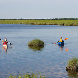Kayaking in the tidal estuary in Plum Island Sounds.  Sawyer's Island, Rowley, Massachusetts.