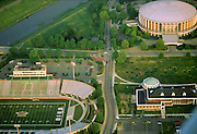 Aerial view of Peden Stadium, The Convocation Center, Bicentennial Park and Walter Hall. © Ohio University