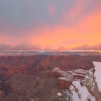 A winter sunrise bathes Grand Canyon in its soft light. Mather Point Overlook, Grand Canyon National Park, Arizona