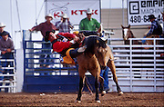 NOV 18, 2001, GILBERT, AZ, USA: A rider slides off his bronc during the bareback competition at the Gilbert Days Rodeo in Gilbert, AZ, Sunday, Nov. 21, 2001. .PHOTO BY JACK KURTZ