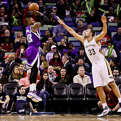 Jan 28, 2016; New Orleans, LA, USA; Sacramento Kings guard Ben McLemore (23) shoots over New Orleans Pelicans forward Ryan Anderson (33) during the second half of a game at the Smoothie King Center. The Pelicans defeated the Kings 114-105. Mandatory Credit: Derick E. Hingle-USA TODAY Sports