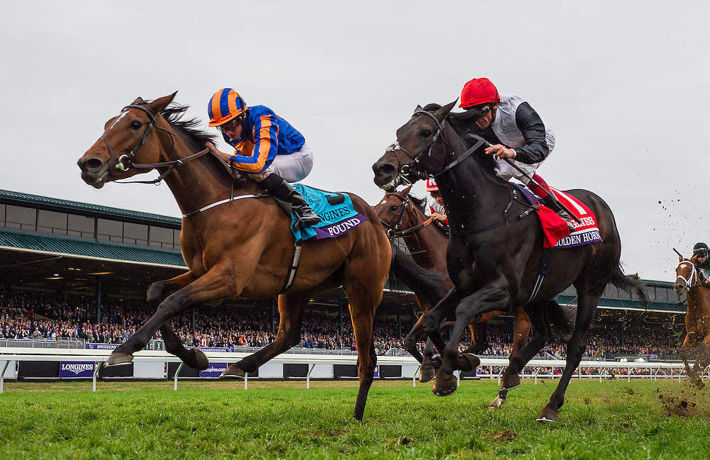 October 31, 2015:  Found with Ryan Moore (left) defeats Golden Horn with Frankie Dettori to win the Breeders' Cup Turf at Keeneland Race Track in Lexington, Kentucky. Evers/ESW/CSM
