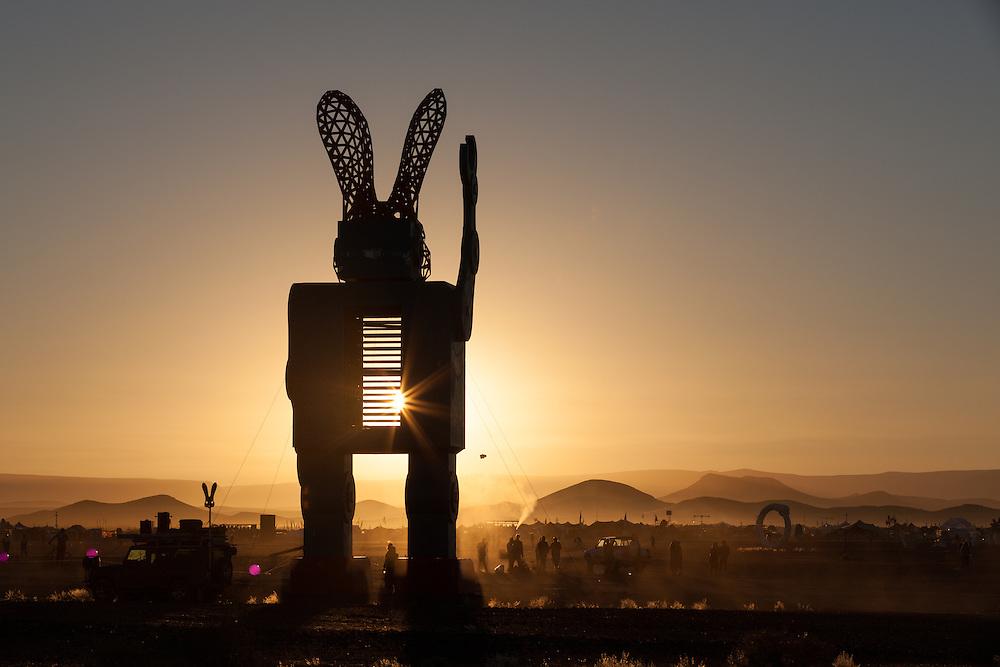Clan - The Interpreter robot bunny silhouette at AfrikaBurn 2014, Tankwa Karoo desert, South Africa