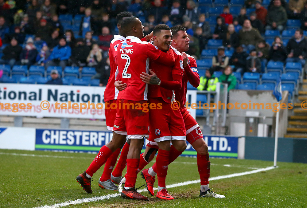 Crawley's Karlan Ahearne-Grant  celebrates scoring during the Sky Bet League 2 match between Chesterfield and Crawley Town at the Proact Stadium in Chesterfield. 03 Feb 2018