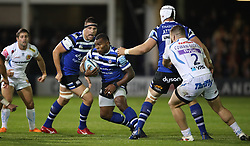 Bath Rugby's Semesa Rokoduguni runs at Exeter Chiefs back line during the Gallagher Premiership match at the Recreation Ground, Bath.