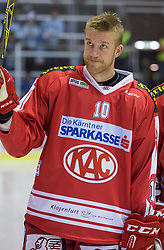 11.09.2015, Stadthalle, Klagenfurt, AUT, EBEL, EC KAC vs Fehervar AV 19, im Bild Jonas Nordqvist (EC KAC, #10) // during the Erste Bank Eishockey League match betweeen EC KAC and Fehervar AV 19 at the City Hall in Klagenfurt, Austria on 2015/09/10. EXPA Pictures © 2015, PhotoCredit: EXPA/ Gert Steinthaler