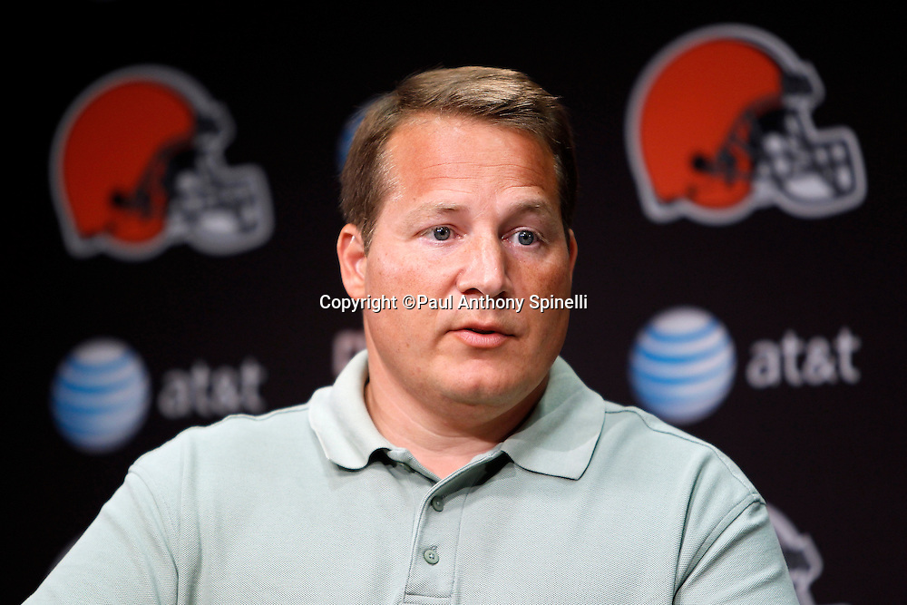 Cleveland Browns Head Coach Eric Mangini talks to the media during a press conference prior to the NFL football training camp at the Cleveland Browns Training Complex on Monday, August 9, 2010 in Berea, Ohio. (©Paul Anthony Spinelli)