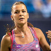 August 23, 2016, New Haven, Connecticut: <br /> Agnieszka Radwanska of Poland reacts after a victory during Day 5 of the 2016 Connecticut Open at the Yale University Tennis Center on Tuesday, August  23, 2016 in New Haven, Connecticut. <br /> (Photo by Billie Weiss/Connecticut Open)