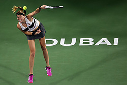 DUBAI-, Feb. 24, 2019  Petra Kvitova of the Czech Republic serves during the women's singles final match between Belinda Bencic of Switzerland and Petra Kvitova of the Czech Republic at Dubai Duty Free Tennis WTA Championships 2019 in Dubai, the United Arab Emirates, Feb. 23, 2019. Belinda Bencic won 2-1 and claimed the title. (Credit Image: © Xinhua via ZUMA Wire)