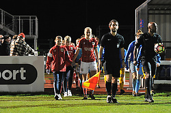 Millie Turner captain of Bristol City Women leads out her players - Mandatory by-line: Paul Knight/JMP - 02/12/2017 - FOOTBALL - Stoke Gifford Stadium - Bristol, England - Bristol City Women v Brighton and Hove Albion Ladies - Continental Cup Group 2 South