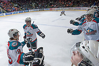 KELOWNA, CANADA - FEBRUARY 2: The Kelowna Rockets celebrate a first period goal against the Vancouver Giants at the Kelowna Rockets on February 2, 2013 at Prospera Place in Kelowna, British Columbia, Canada (Photo by Marissa Baecker/Shoot the Breeze) *** Local Caption ***