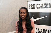 Genzebe Dibaba (ETH) during a press conference prior to the 45th Prefontaine Classic, Saturday, June 29, 2019, in San Mateo, Calif.