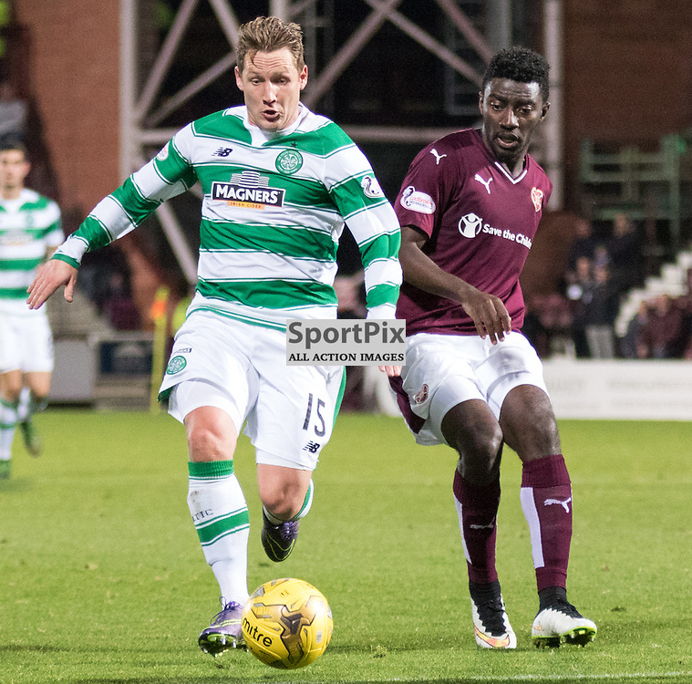Celtic's Kris Commons takes the ball past Heart of Midlothian's Prince Buaben in the Hearts vs Celtic Scottish League Cup Quarter Final 28th October 2015......(c) MARK INGRAM | SportPix.org.uk