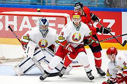 Dmitri Milchakov of Belarus, Yevgeni Lisovets of Belarus and Emilijus Krakauskas of Lithuania during ice hockey match between Lithuania and Belarus at IIHF World Championship DIV. I Group A Kazakhstan 2019, on April 29, 2019 in Barys Arena, Nur-Sultan, Kazakhstan. Photo by Matic Klansek Velej / Sportida