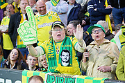 Norwich fans singing before the EFL Sky Bet Championship match between Norwich City and Sheffield Wednesday at Carrow Road, Norwich, England on 19 April 2019.