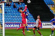 Exeter City Goalkeeper Bobby Olejnik makes a vital save  during the Sky Bet League 2 match between Carlisle United and Exeter City at Brunton Park, Carlisle, England on 17 October 2015. Photo by Craig McAllister.
