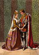 Henry V (1387-1422), king of England from 1413, courting  Katherine, daughter of the French king.  'King Henry V' Act V, Scene II. Illustration by Robert Dudley (active 1858-1893) published 1856-1858 for the historical drama 'King Henry V' by William Shakespeare, written 1599. Henry married Catherine of Valois in 1420 after concluding the 'perpetual peace' of Troyes.   Chromolithograph.