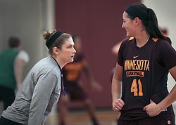 October 1, 2018 - Minneapolis, MN, USA - Lindsay Whalen coached her first official Gophers women's basketball practice Monday afternoon. Here Whalen confronts Senior Center Annalese Lamke with a joking stare. ] ..BRIAN PETERSON Â¥ brian.peterson@startribune.com..Minneapolis,  MN  10/01/2018. (Credit Image: © Brian Peterson/Minneapolis Star Tribune via ZUMA Wire)