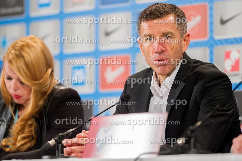 head coach Srecko Katanec (SLO) at press conference after the UEFA EURO 2016 Play-off for Final Tournament, Second leg between Slovenia and Ukraine, on November 17, 2015 in Stadium Ljudski vrt, Maribor, Slovenia. Photo by Urban Urbanc / Sportida