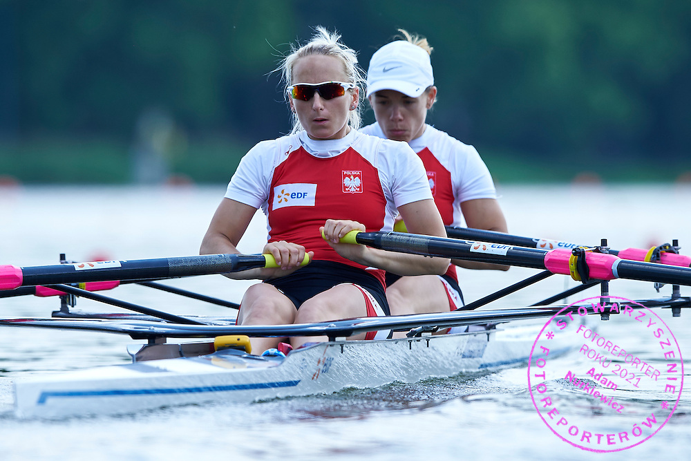 (bow) Magdalena Fularczyk and (stroke) Natalia Madaj both from Poland compete at Women&rsquo;s Double Sculls (W2x) during first day the 2015 European Rowing Championships on Malta Lake on May 29, 2015 in Poznan, Poland<br /> Poland, Poznan, May 29, 2015<br /> <br /> Picture also available in RAW (NEF) or TIFF format on special request.<br /> <br /> For editorial use only. Any commercial or promotional use requires permission.<br /> <br /> Mandatory credit:<br /> Photo by &copy; Adam Nurkiewicz / Mediasport