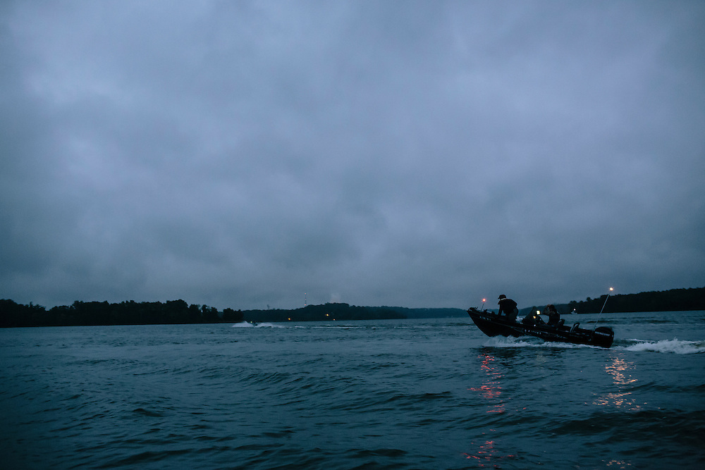 Pairings head out to different locations along the Potomac River during the FLW College Fishing Northern Conference Invitational in Marbury, MD on Oct. 11, 2014. Some teams went an hour North or South by boat to find the best spot to catch bass.