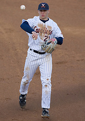 Virginia Cavaliers infielder David Adams (23) throws to first base against GWU.  The Virginia Cavaliers Baseball Team defeated the George Washington University Colonials 11-0 in the first of a three game series on February 17, 2007 at Davenport Field, Charlottesville, VA.
