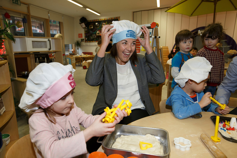 Scottish Labour leader Kezia Dugdale visits Elie Street nursery in Glasgow to highlight the SNP Scottish Government's budget cuts.  Picture Robert Perry 5th Feb 2016<br /> <br /> Must credit photo to Robert Perry<br /> FEE PAYABLE FOR REPRO USE<br /> FEE PAYABLE FOR ALL INTERNET USE<br /> www.robertperry.co.uk<br /> NB -This image is not to be distributed without the prior consent of the copyright holder.<br /> in using this image you agree to abide by terms and conditions as stated in this caption.<br /> All monies payable to Robert Perry<br /> <br /> (PLEASE DO NOT REMOVE THIS CAPTION)<br /> This image is intended for Editorial use (e.g. news). Any commercial or promotional use requires additional clearance. <br /> Copyright 2014 All rights protected.<br /> first use only<br /> contact details<br /> Robert Perry     <br /> 07702 631 477<br /> robertperryphotos@gmail.com<br /> no internet usage without prior consent.         <br /> Robert Perry reserves the right to pursue unauthorised use of this image . If you violate my intellectual property you may be liable for  damages, loss of income, and profits you derive from the use of this image.